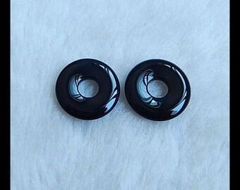 Obsidian Gemstone Cabochon Pair,20x3mm,4.22g