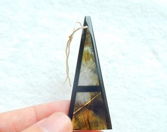 Latest Natural Labradorite,Obsidian Intarsia Pendant Bead  ,57x22x4mm,6.2g