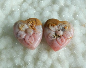 New,Carved Pink Opal Flower Cabochon Pair,26x23x6mm,49ct