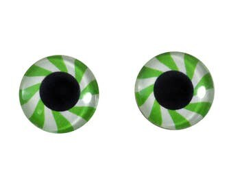 16mm Green and White Mint Candy Glass Eye Cabochons - Festive Holiday Eyes for Doll or Jewelry Making - Set of 2