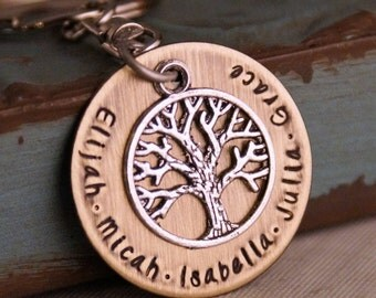 Grandma key chain / Grandpa keychain / Personalized Keychain / Hand Stamped / Branches of the same tree
