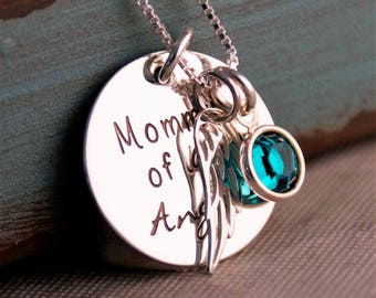 Mommy of an Angel Neckalce / Personalized Jewelry / Hand Stamped Jewelry / Sterling Silver