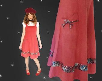 Mod 60s Jumper Dress - Vintage 1960s Spring Jumper or Summer SunDress - S