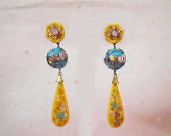 Flower Earrings for Spring - One of a Kind Colorful Dangle Earrings - Made with Vintage - Venetian Beads Look Like Easter Eggs - in Gift Box