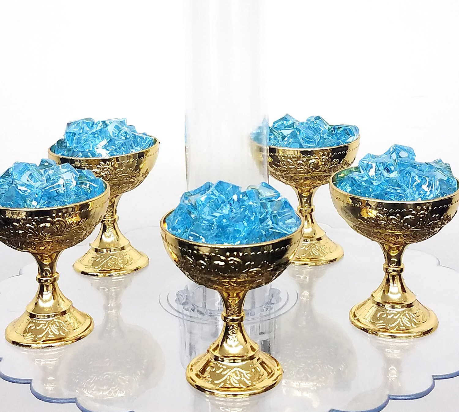 12 Small Gold Favor Cups For Little Prince Baby Shower / Perfect For Baby  Blue And