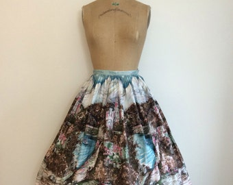 1950s Vintage Tristans Castle Scenic Border Skirt 50's Millworth Novelty Print Skirt