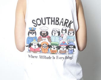 vintage 90s SOUTH PARK big DOGS mash up faded white tank top