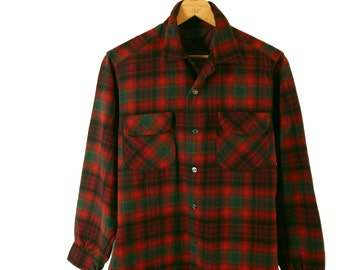 1960s Men's Pendleton Plaid Shirt.  Wool Red Shadow Plaid. Loop Collar. Horizontal Buttonholes. Pre Wool Trademark. Medium