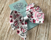 New Year Clearance-One Dollar Sale-Skulls & Hearts Pinwheel Bow Hair Clip-Ready to Ship