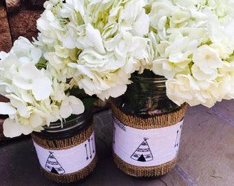 Mason Jar Wrap, Teepee, Arrow, Tribal, Boho Baby, Mason Jar Decoration, Baby Shower, Party, Wedding, Home Decor