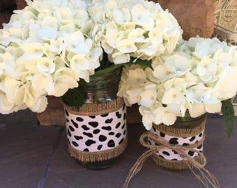 Mason Jar Wrap, Animal Print in Black & White, Mason Jar Decoration, Choose Size and Number of Wraps, Wedding, Shower, Party Decoration