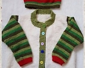 PDF Instant Download Knitting Pattern Hungry Caterpillar Cardigan, Shoes and Hat Set