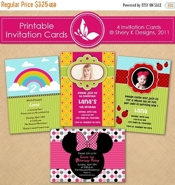 40% off Printable Girl Invitation Cards