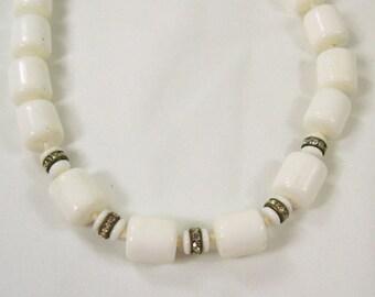 ON SALE Vintage 1950s Necklace White Milk Glass Chunky Barrel Bead Rhinestones Single Strand