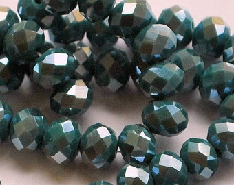 20 pcs 8x6mm Opaque Dark Green Luster Glass Rondelle Glass Beads ODGL-5