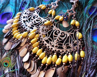 "Large Exotic Gypsy Chandelier Earrings, Wide & Full Bohemian, Huge Ethnic Brass Filigree Hoops, 5"" Long, Wood, Color Options!"