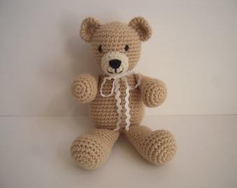 Crocheted Stuffed Amigurumi Beige Teddy Bear