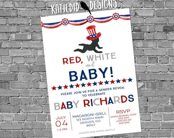 Gender reveal invitation Patriotic uncle sam red white baby baby shower 4th of july birthday bunting banner 1479 red white and baby navy