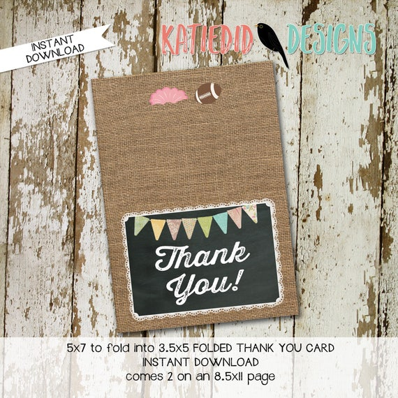 touchdown or tutu lace country rustic burlap 1431 chalkboard THANK YOU CARD folded 1466 digital printable baby shower birthday stationary