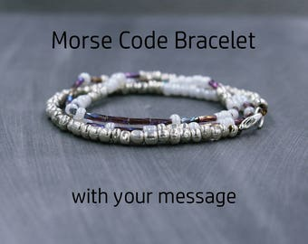 Hidden Message Bracelet, Secret Message Bracelet, Custom Morse Code Jewelry, Quote Bracelet with meaning, Beaded Bracelet with quote