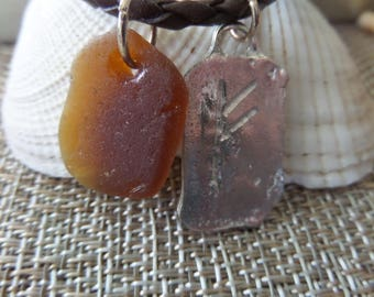 Viking Rune Men's Necklace With Brown Scottish Sea Glass Unisex Brown Braided Leather Cord Wealth BEST SELLER