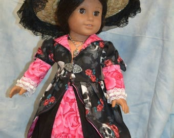 18 in doll clothes day of the dead skeletons skulls roses pink black skirt jacket hat
