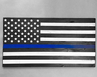 Thin Blue Line Flag, Law Enforcement Wood Sign, USA, Police Officer Gift