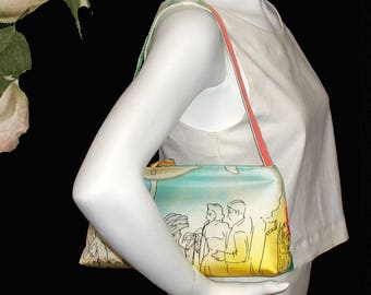 Shoulder Bag of Vintage Silk Souvenir Scarf - So Audrey - Perfect For Cruise, Summer Night Out or Party - One of A Kind