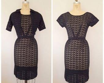 Vintage 1960s L'Aiglon Dress and Jacket Set / Black Eyelet Lace Wiggle Dress / LBD / XS