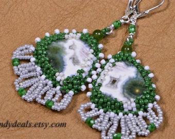 Ocean Jasper Earrings Beaded Earrings Embroidery Seed beads Earrings Peyote beaded Earrings