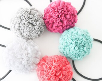 Pom Hair Tie - Set of 5 - Pom Hair Bow - Ponytail Holder - Pom Pom Hair Accessories - Pigtail Bows - Ponytail Wrap - Toddler Ponytail Holder