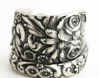 Silver Wild Flower Ring, Spoon Ring Sterling Silver, 1908 Baltimore Style Floral Ring, Rosebud Ring, Chunky Ring, Adjustable Ring Size, 6373