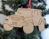"Laser engraved ""Merry Christmas 2016"" Jeep Christmas ornament"