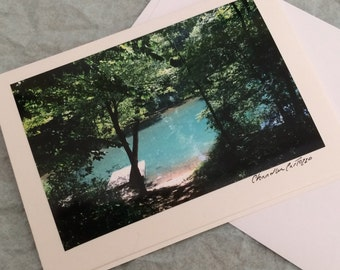 Serene River with a Dock / Collins River Valley / Wedding Card / Birthday Card / Scenic Tennessee Blank Note Card with Envelope