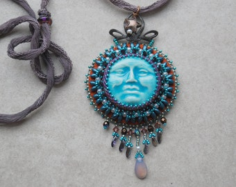 Solar Eclipse Bead Embroidered Necklace