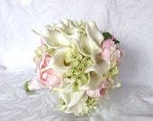 Reserved Real touch Calla lily and peony bridal bouquet with silk hydrangea