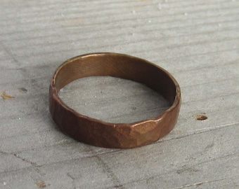 Hammered copper ring tarnished copper jewelry copper ring unisex patina distressed copper rustic simple jewelry