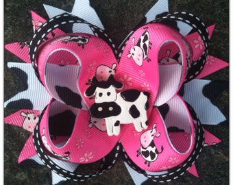 Pink Moo Cow Boutique Hairbow