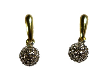 Sterling Silver Gold Overlay Paved Diamond Drop Earrings #2284