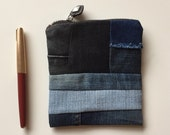 repurposed blue jeans zipper pouch - small denim purse - patchwork denim cosmetic pouch - neutral gift - nick nack purse
