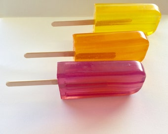 Popsicle Soaps, 3 Soapsicles, Realistic  Handmade Soap, Party Favor, Kids Bithdays,Summertime, Fun Gift, Personalize, CUSTOM ORDERS WELCOME