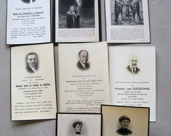 SALE A Collection of 8 Antique & Vintage Historical French Mourning Cards Funereal Mass Cards 1886 to 1954 Including Noble Brave Lives