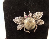 Sterling Silver Marcasite Bee, Beetle Bug Pin, Vintage Insect Brooch, Lapel Pin, Dress Pin