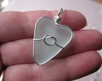 Sea Glass Heart Beach Glass Pendant Valentines Day Gift Blue SeaGlass Nautical Knot Real Beach Glass Wire Wrapped Seaglass Real Natural Sea