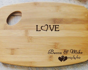 Personalized Love Heart Cutting Board
