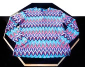 missoni look psychedelic flames knit top . vintage 1960's 70's . size medium large