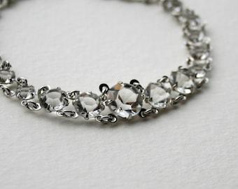 Vintage Glass Rhinestone Open Back Bracelet