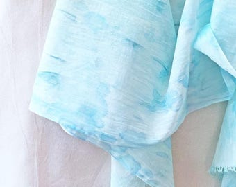 Turquoise Scarf, Watercolor Scarf, Hand Painted Scarf, Woman's Scarf, Beach Scarf, Cotton Scarf, Boho Scarf, Festival Scarf, Aqua Scarf