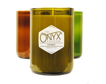 11 oz. Sambac Scented Wine Bottle Soy Candle - Jasmin Vetiver and Orange Scented