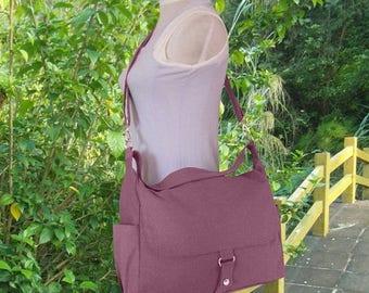 Fathers Day Sale 20% off Purple canvas shoulder bag, messenger bag, diaper bag, travel bag, womens purse